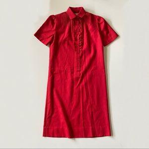 Vintage 70s Red Ruffle Short Sleeve Shirt Dress S